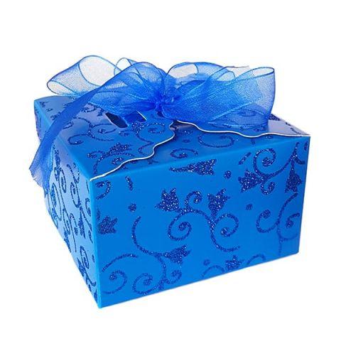 Коробка синяя с блестками