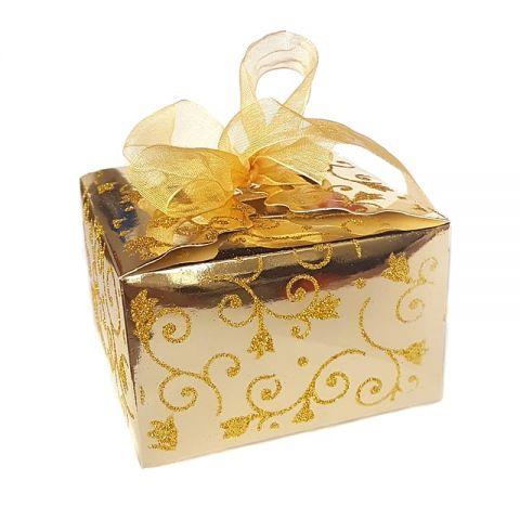 Коробка золотая с блестками