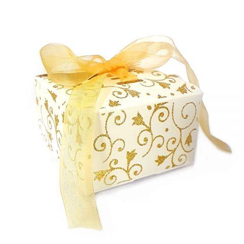 Коробка белая с золотыми блестками