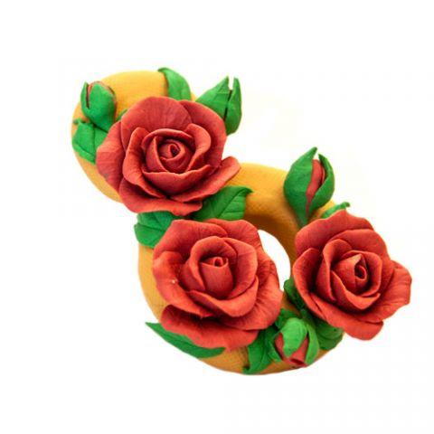 Силиконовая форма 3D 8 марта с розами (арт 340)