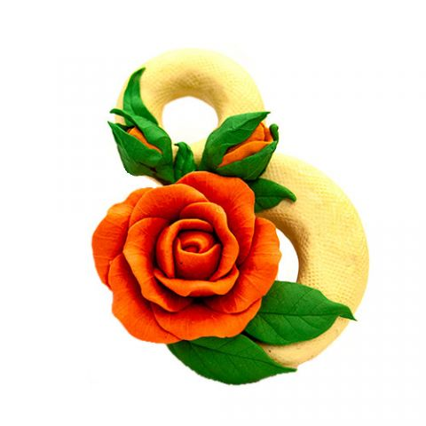 Силиконовая форма 3D 8 марта с розой и бутонами (арт 337)