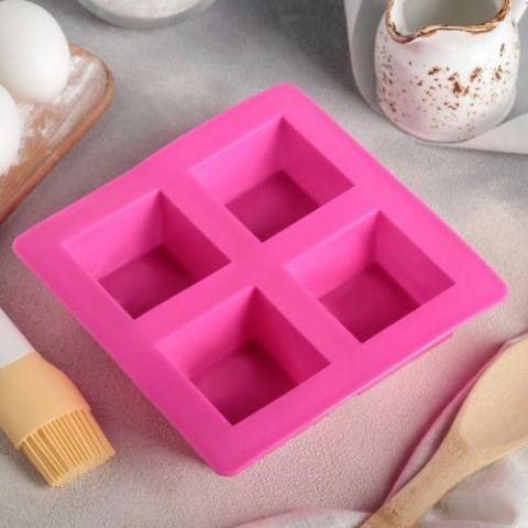 Форма для выпечки «Квадрат», 17,5×17,5 см, 4 ячейки (5,7×5,7 см), цвет МИКС