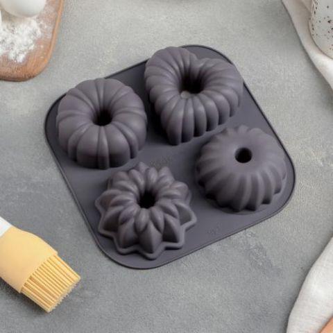 Форма для выпечки «Немецкий кекс», 17×17 см, 4 ячейки, цвет МИКС