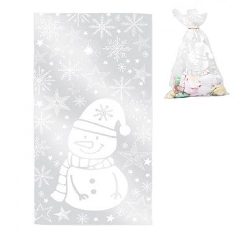Пакет подарочный пластиковый «снеговик» 15 х 30 см