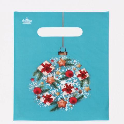 Пакет подарочный Новогодний шар, 19 х 25 см, 30 мкм