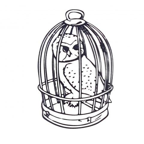Штамп силиконовый сова в клетке