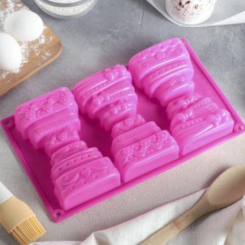 Форма для выпечки «Торт», 29,5×17 см, 6 ячеек (7×8,5 см), цвет МИКС