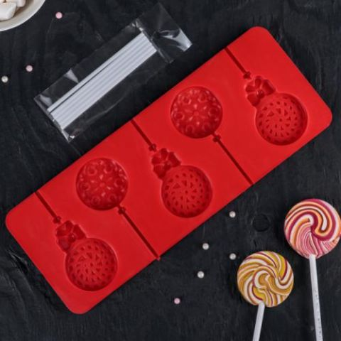 Форма для леденцов и мороженого «Улыбка», 5 ячеек, с палочками, 24 × 9,5 см, цвет МИКС